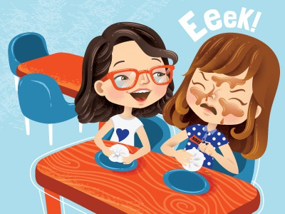 """Editorial Illustration- """"Totally Embarrassing"""" story eating food kids characters childrens children character magazine editorial vector illustrator illustration"""