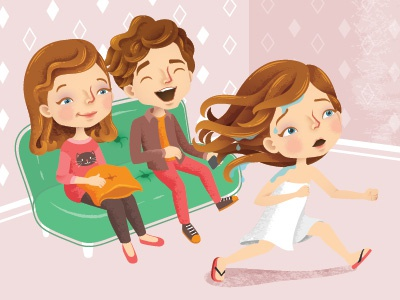 """Editorial Illustration- """"Totally Embarrassing"""" Story (Bath) bath kids childrens children characters character magazine editorial vector illustrator illustration"""