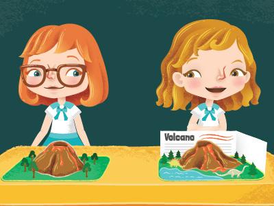 "Editorial Illustration- ""Class Project"" students school project class kids childrens children characters character magazine editorial vector illustrator illustration"