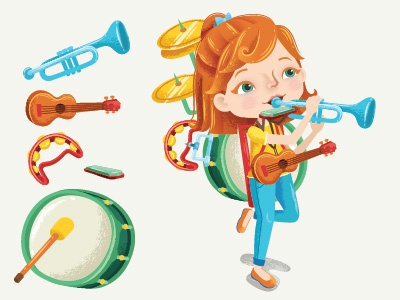 One-man Band music band instruments kids childrens children characters character magazine editorial vector illustrator illustration