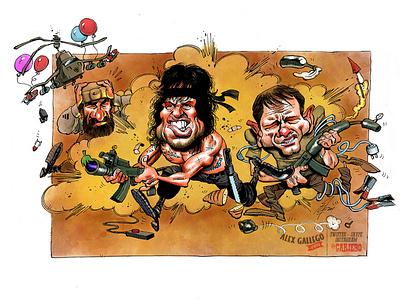 Rambo III avatar character cinema drawing portrait humorous illustration press war rambo movie cartoons caricatures humour humor cartoon caricature