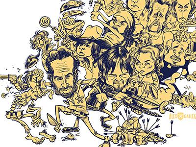 It's a dead, dead, dead, dead world. caricature humour tvshow show television tv daryl the walking dead zombie walking dead