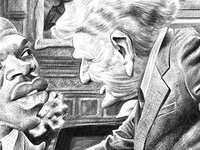 Trading Places Ballpoint Pen Caricature