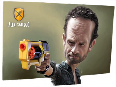 Walking Dead - Rick with a Nerf caricature illustration cartoon caricatures humour character walking dead rick andrew lincoln actor cinema movies series hbo nerf gun shotgun weapon