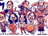 Theater play caricature poster