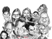 Modern Family digital pencil caricatures