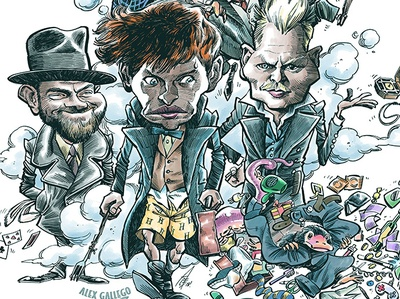 Grindelwald Poster newt harry potter beasts fantastic grindelwald art drawing movie humour illustration caricatures caricature