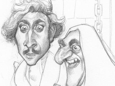 Young Frankenstein sketch caricature movie illustration portrait caricatures celebrities celebrity cinema gene wilder young frankenstein fronkonstin hunchback castle terror horror comedy humour humor