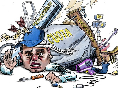The freelance / self-employee freelance humor humour cartoon caricature