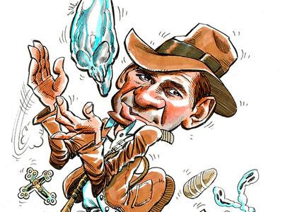 Indiana Jones original art caricatura markers movie character cinema celebrity drawing portrait humour cartoon illustration caricatures caricature