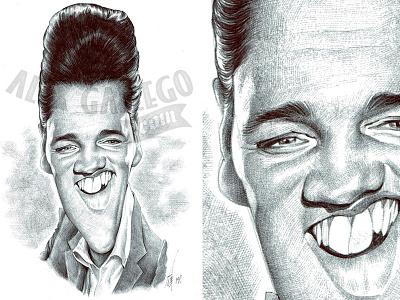 Elvis, original art in ballpoint pen elvis presley music elvis character drawing celebrity humour portrait caricatures caricature