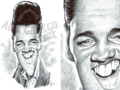 Elvis, original art in ballpoint pen