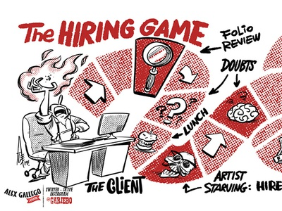 The Hiring Game illustrator drawing business card design business cards business card businesscard illustration art cartoon cartooning illustration