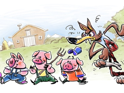 Three pigs and the wolf animals character humour drawing book illustration book childrens book cartoon illustration