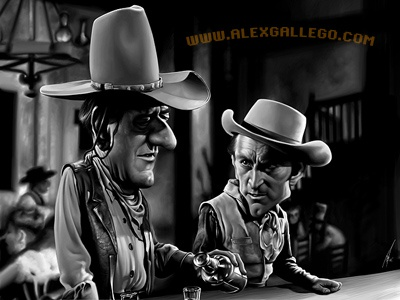 John Wayne and Kirk Douglas - final caricature movie illustration portrait caricatures celebrities celebrity cinema tv television cowboys western classics classic biopic indian saloon whiskey john wayne kirk douglas