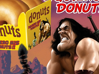 Donuts Fake promo illustration painting digital painting packaging poster cover magazine cover trading card cards game game cover videogame ad