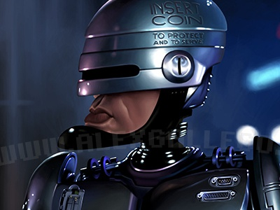 Robocop finished caricature movie illustration portrait caricatures celebrities celebrity cinema tv television robocop robot android cyber cybernetic murphy sci-fi future cop