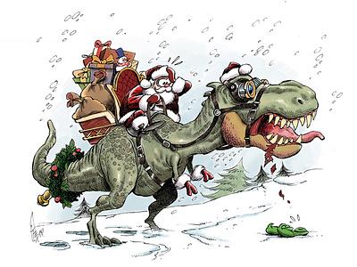 Dino Christmas! drawing humour cartoon merry xmas santaclaus santa advent holidays merry navidad christmas