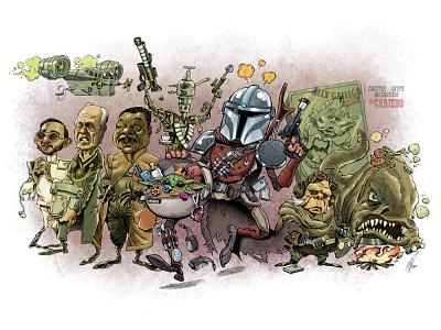 MANDALORIAN star wars cinema character drawing movie humour cartoon caricatures caricature starwars mandalorian