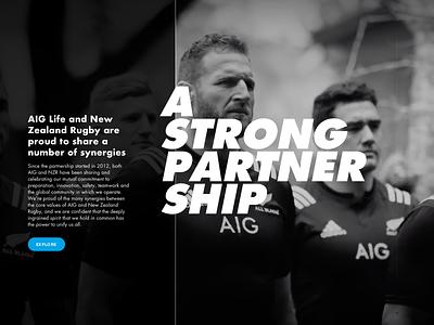 AIG All Blacks design ui typography logo
