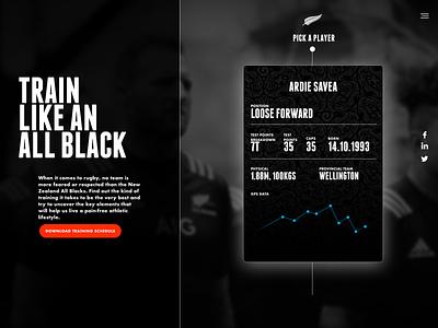 AIG Train Like an All Black interface design ui