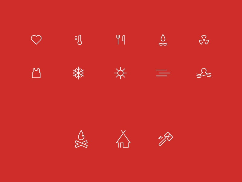 Survival Game icons by Eric Benacek on Dribbble