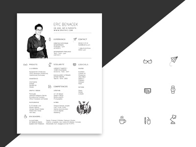 Simple Resume and icons resume cv icons ai