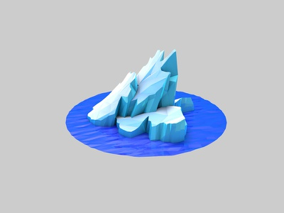 Iceberg low poly lowpoly c4d landscape ice water cinema4d blue