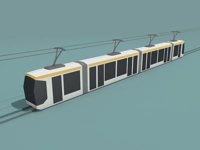 Tramway lowpoly c4d tramway transport