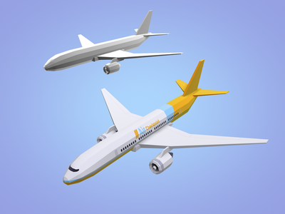 Simple plane - low poly lowpoly c4d transport plane