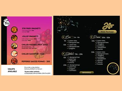Menu list design menu list design ui brand identity design branding graphic design illustration social media banner graphic flyer design