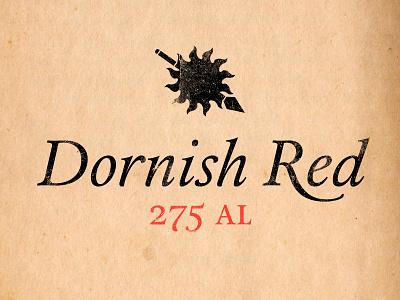 Dornish Red wine label dornish red calendas spear sun