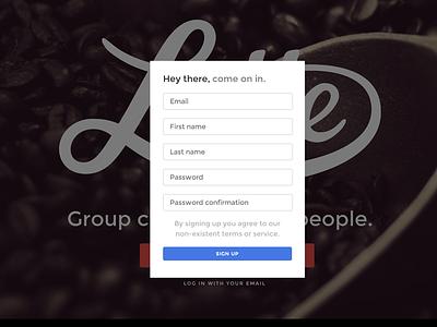 Latte Registration montserrat form register modal
