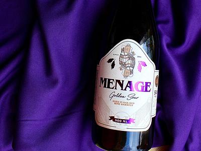 Menage Golden Sour Bottle Label package design bottle label minimal label design illustration design beverage design beverage beer label design beer label beer
