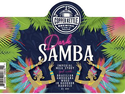 Dark Samba Can Label Design tropical leaves carnival brazilian samba tropical illustration can package design label design design beverage design beverage beer label design beer label beer