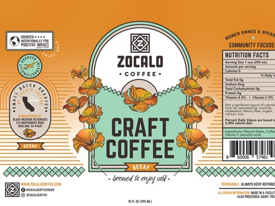 Zocalo Coffee Label Design can label can label design craft coffee minimal beverage iced coffee coffee label coffee can coffee typography illustration can package design label design beverage design
