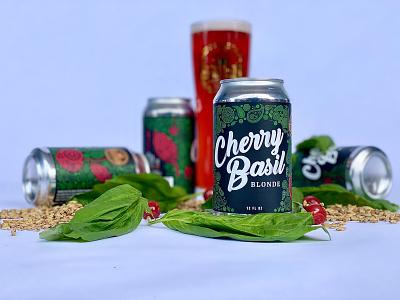 Cherry Basil Blonde Ale Label Design bright colors fruit pattern pattern typography illustration can design beer label design beer label beer package design label design beverage design beverage