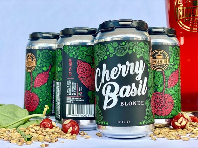 Cherry Basil Blonde Ale Label Design bright colors fruit pattern pattern typography illustration can design beer label design beer label beer package design label design beverage design beverage