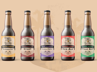 DreadHop Brewing Label Design Series island tropical barbados beer bottle label beer bottle bottle label design bottle label typography illustration design beer label design beer label beer package design label design beverage design beverage
