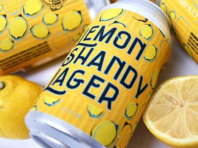 Lemon Shandy Lager Label Design yellow summer summer beer beer can design can label design lemons illustration typography design beer label design beer label beer package design label design beverage design beverage