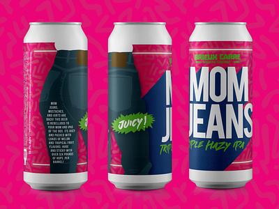 Mom Jeans Beer Can Label Design can label design beer art beer can design beer label design beer label beer package design label design beverage design beverage