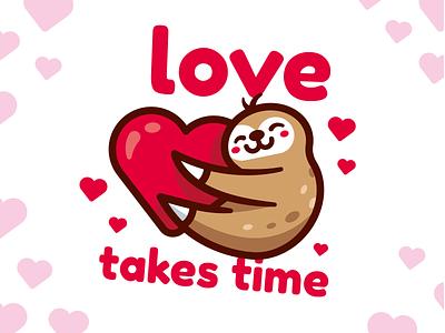 Love Takes Time outline 14 february mascot vector sweet kawaii heart sticker cute animal character funny flat cartoon illustration valentine day love sloth dribbble dribbbleweeklywarmup
