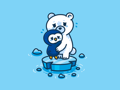 Climate Change ice kids future children design polar bear penguin south pole global warming climate change digital outline graphic cute animals characters mascots flat cartoon illustration