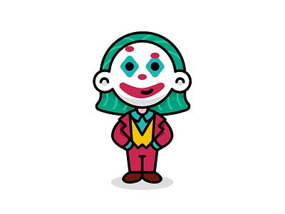 Children Dress like Joker creative minimal vector outline cute batman dc comics sticker cosplayer cosplay joaquin phoenix funny flat character kids children carnival cartoon mascot illustration