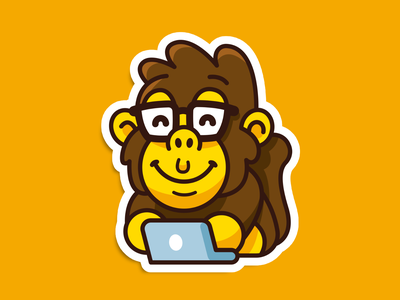 Smart Chimp gorilla outline icon games nerd geek vector sticker cute mascot animal illustration flat character logo funny cartoon monkey chimp smart
