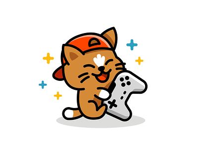 Kitty Gamer player cat kawaii t-shirt sticker gamer nerd geek game icon vector animal cute character logo funny cartoon flat mascot illustration