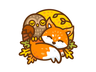 Fox & Owl autumn outline kids children t-shirt design sticker fantasy magic sleeping dreaming forest woodland badge icon vector animal cute cartoon flat illustration