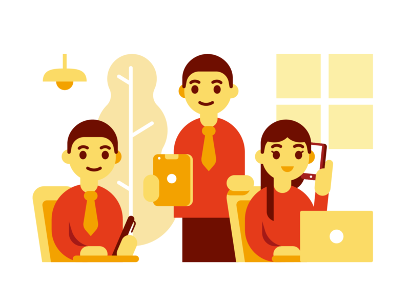 Minimal Company Illustration for Web Page teamwork job simple characters landing page graphic warm minimal team office vector ux ui design flat branding web page company cartoon illustration