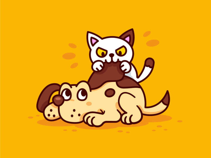 Kitty and Dog BFF play digital art yellow kitty pets design sticker mascot vector funny illustration friends sweet cute outline flat cartoon animals dog cat