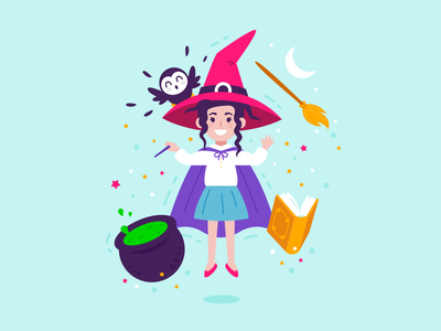 Cute Children Witch kids children trick or treat witchcraft halloween broom book moon owl fantasy magic witch vector cute character funny cartoon flat mascot illustration